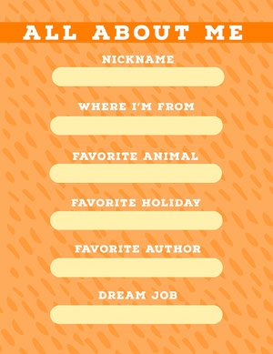Orange All About Me Worksheet Worksheet