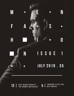Dark Black and White Mens Fashion Magazine Cover Fashion