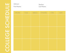Yellow Weekly College Schedule Education