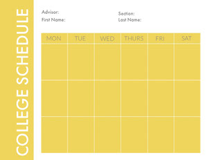 Yellow Weekly College Schedule Créateur d'agend