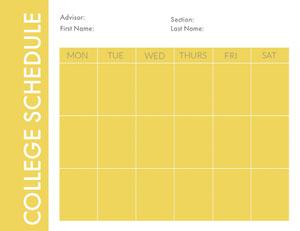 Yellow Weekly College Schedule Horário escolar