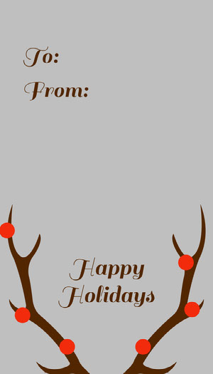 Grey, Brow and Red, Minimalistic, Christmas Gift Card Christmas Card