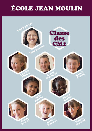 White And Purple Hexagons Class Organisation Chart  copy Class Photos