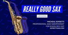 Blue and White Good Sax Facebook Page Cover Music Lessons Flyer