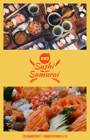 Orange Sushi Restaurant Opening Ad Flyer Flyer für feierliche Eröffnung