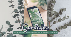 Green Gardening Smartphone App Facebook Ad with Plants Garden
