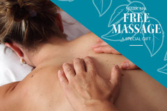 Blue and White, Light Toned Free Massage Gift Card  Spa