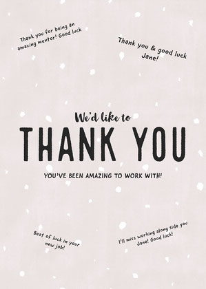 Light Pink Typography Coworker Thank You Card Good Luck Card