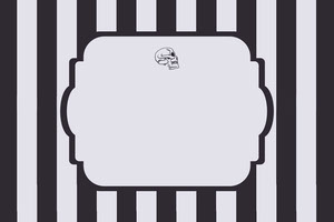 Black and White Stripes and Skull Halloween Party Name Tag Badge