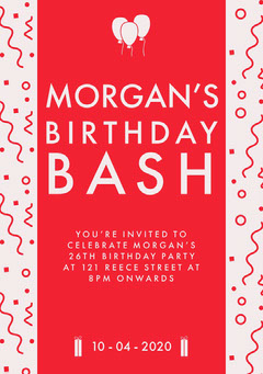Red Pattern and Balloons Birthday Party Invitation Card Birthday Bash