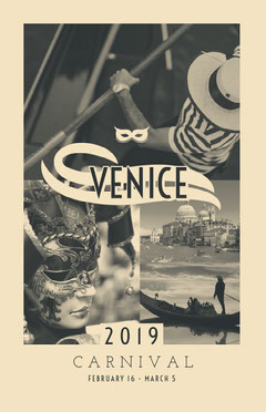 Black and White Venice Carnival Poster Italy
