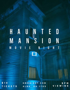 Blue and White Haunted Mansion Movie Night Poster  Movie Night Flyer