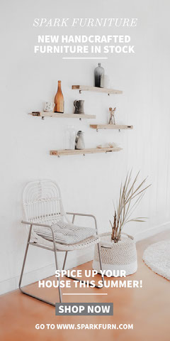 White, Light Toned Furniture Design Collection Ad Instagram Story Furniture Sale