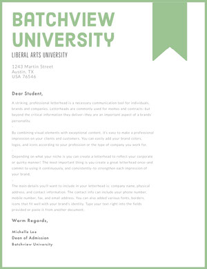 Green and White Professional Letter Carta intestata