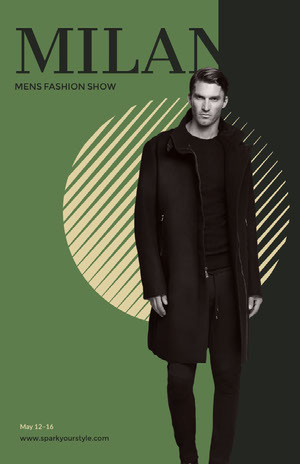 Green and Grey Mens Fashion Show Promo Instagram Story Fashion Show Flyer