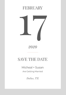 Light Blue and Gray Save the Date Wedding Card Save the date-kaart