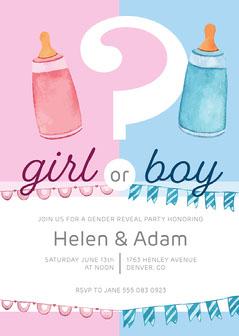 Pink and Blue Baby Bottle Illustration Gender Reveal Invitation Card Gender Reveal Flyer