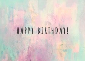 Colourful Watercolour Happy Birthday Card Landscape Bachelorette Party Invitation