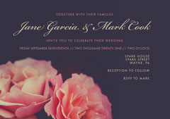 Pink and Violet Wedding Invitation Rustic Wedding Invitation