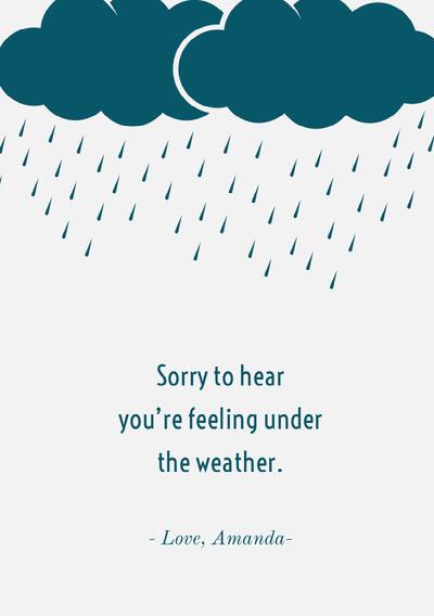 Blue Raincloud Get Well Soon Card Get Well Soon Messages
