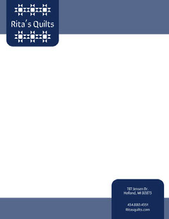 Blue Quilt Business Letterhead Pattern Design