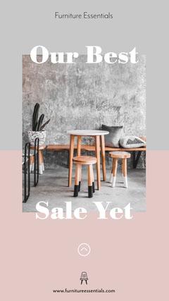 pink grey minimal furniture store sale instagram story  Furniture Sale