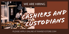 Brown Cashier and Custodiant Job Recruitment Ad Now Hiring Flyer