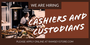 Brown Cashier and Custodiant Job Recruitment Ad Advertisement Flyer