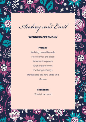 Pink With Flowered Pattern Wedding Program Event Program
