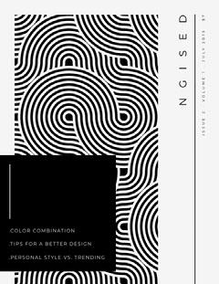 Black and White Pattern Graphic Design Magazine Cover Designer