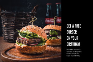 Black With Fresh Burgers Bar Flyer Coupon