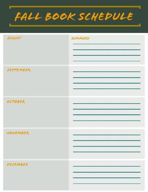 FALL BOOK Schedule