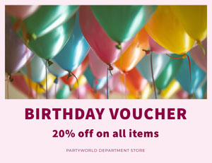 Colorful Party Store Birthday Discount Voucher Coupon with Balloons Kupon