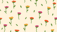 Illustrated Flower Pattern Zoom Background Pattern Design