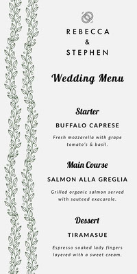 Green Vines Elegant Wedding Menu Boda
