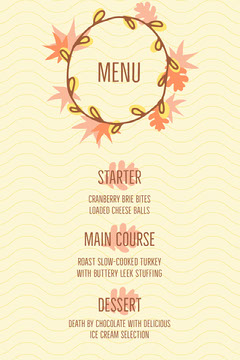 autumn wreath thanksgiving menu Thanksgiving Menu