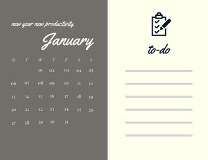 Grey and White Calendar Card Monthly Calendar