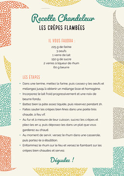Multicolour Crepe Recipe Sheet A4