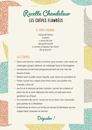 Multicolour Crepe Recipe Sheet A4  Fiche de recette