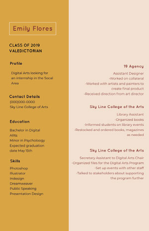 Pink and Brown Professional Resume Graduation