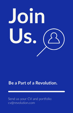 Blue and White Join Us We're Hiring Poster Job Poster