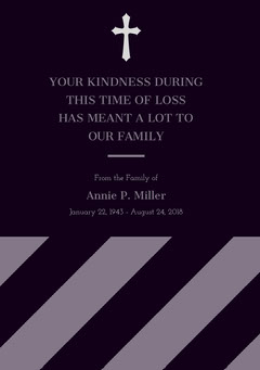 Purple and Black Thank You for Attending Funeral Card Funeral