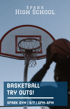 Blue High School Basketball Team Try Outs Flyer Teams