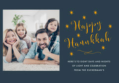 Navy Blue Happy Hanukkah Stars Photo Card Hannukkah