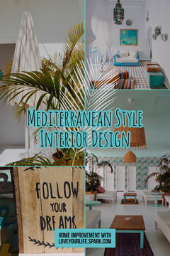 Mediterranean Style Interior Design Pinterest Graphic with Collage Interior Design
