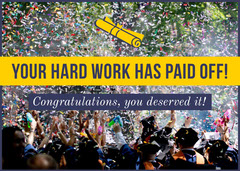 Yellow and Blue Graduation Congratulations Card with Confetti Confetti