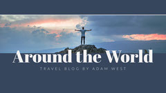 Blue and White Around the Bend Travel Blog Banner Mountains