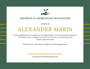 ALEXANDER MARIN  Zertifikat