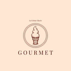 Pink and Brown Gourmet Ice Cream Logo Instagram Post Ice Cream Social Flyer
