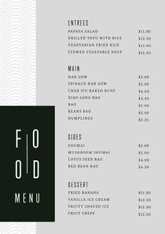 Black and White Simple Food Restaurant Menu Pattern Design